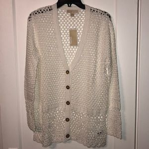 *NWT* Michael Kors White Crochet Sweater Sz L